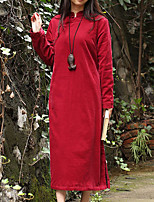 Cynthia Women's Casual/Daily Chinoiserie Loose DressSolid Stand Midi Long Sleeve Red Cotton