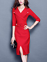 Women's Plus Size / Casual/Daily Vintage Bodycon DressSolid V Neck Knee-length  Sleeve Red / Black Polyester