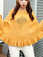 Women's Casual/Daily Cute Regular Pullover,Solid White / Gray / Yellow / Purple Round Neck Long Sleeve Polyester Fall / Winter Medium