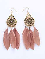 The European And American Fashion Circle Earrings Exaggerated Fashion Feather Earrings National Wind Earrings