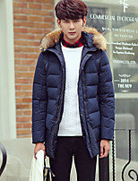 Men's Down Coat,Street chic Plus Size Solid-Polyester White Duck Down Long Sleeve Hooded Blue / Gray / Green