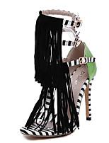 Черный-Женский-Для праздника / Для вечеринки / ужина-Кожа-На шпильке-Удобная обувь-Сандалии