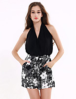 1287 Women's Floral Black JumpsuitsStreet chic Halter Sleeveless