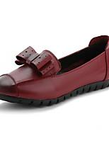 נשים-נעליים ללא שרוכים-עור-נוחות-שחור / אדום-קז'ואל-עקב שטוח