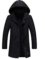 Men's Regular Down Coat,Simple Casual/Daily Solid-Polyester White Duck Down Long Sleeve Black / Green