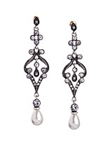 European Luxury Gem Geometric Earrrings Vintage Pearl Rococo Drop Earrings for Women Fashion Jewelry Best Gift