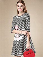 Women's Casual/Daily Simple A Line Dress,Striped Round Neck Above Knee ½ Length Sleeve Black Cotton Fall High Rise Inelastic Thin