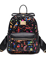 Casual Backpack Women PU Pink Black