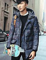 Manteau Doudoune Hommes simple Grandes Tailles / Décontracté / Quotidien Imprimé-Coton Duvet de Canard Blanc Manches Longues Bleu