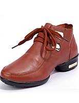 Non Customizable Women's Dance Shoes Leather Leather Jazz / Modern Heels Chunky Heel Performance Black / Brown / Red
