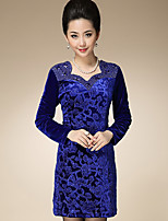 AINIER Women's Casual/Daily Simple Tunic DressJacquard V Neck Mini Long Sleeve Blue Spandex Spring / Fall Mid Rise Inelastic Thin