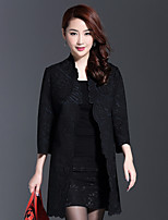 AINIER Women's Casual/Daily Simple CoatJacquard Stand Long Sleeve Spring / Fall Black Cotton / Polyester