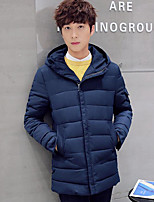 Men's Long Padded Coat,Simple Casual/Daily Solid-Cotton Cotton Long Sleeve Hooded Blue / Red / Black / Gray