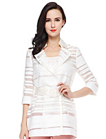 CANTO MOTTO Women's Going out Simple Trench CoatStriped Notch Lapel  Sleeve Fall White Silk / Cotton / Nylon Sheer