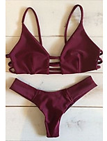 Sports Women's Swimwear Breathable / Compression / Comfortable Two Pieces Halter Scoop Red Wine Red Wine S / M / L