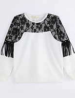 Girl Casual/Daily Color Block Blouse,Cotton Fall Long Sleeve Regular