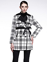 CARBAMMI  Women's Going out Vintage Trench CoatPlaid Peaked Lapel Long Sleeve Fall White Polyester Opaque