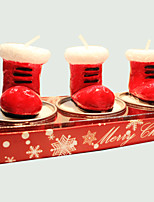 Christmas Candle Cute Snow Boots Shape 3Pcs