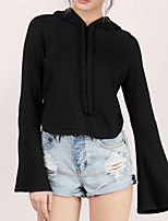 Women's Casual/Daily Simple / Active Short Hoodies,Solid Black / Gray Hooded Long Sleeve Cotton Fall / Winter Medium Stretchy