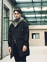 Пальто Простое Длинная На подкладке Мужчины,Однотонный На каждый день Полиэстер Хлопок,Длинный рукав Черный