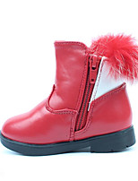 Girl's Boots Fall / Winter Comfort PU Dress / Casual Flat Heel Bowknot / Zipper Black / Pink / Red Walking