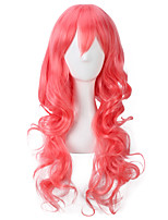 Red Color Long Curly Wigs Capless Synthetic Wigs For Afro Women