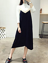 Women's Going out / Casual/Daily Vintage / Simple Loose DressSolid Strap Midi Sleeveless Black / Green
