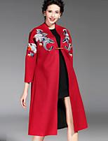 Feminino Casaco Casual Chinoiserie Outono / Inverno,Bordado Azul / Vermelho / Cinza OutrosManga Longa Grossa