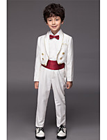Polyester / Serge / Polester/Cotton Blend Ring Bearer Suit - Five-piece Suit Pieces Includes Jacket / Shirt / Pants / Waist cummerbund /