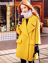 Women's Casual/Daily / Work / Party/Cocktail Vintage / Simple / Street chic Coat,Solid Shirt Collar Long Sleeve Fall / Winter YellowWool