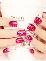 24PCS/SET  Nail Strips Brief Paragraph Rosy Sequins   Fashion Sexy