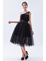 Tea-length Tulle Little Black Dress Bridesmaid Dress - A-line One Shoulder with Sash / Ribbon