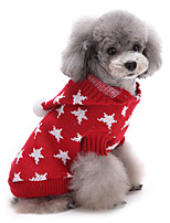 Cat / Dog Sweater Red / Blue Dog Clothes Winter Stars Cute / Keep Warm / Christmas