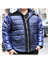 Men's Regular Down Coat,Simple Casual/Daily Solid-Polyester White Duck Down Long Sleeve Shirt Collar Blue / Brown