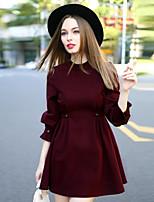 Trapèze Robe Femme Décontracté / Quotidien simple,Couleur Pleine Col Ras du Cou Au dessus du genou ½ Manches Rouge Coton / Spandex Automne