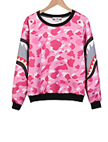 Women's Casual/Daily Simple / Active Regular Hoodies,Print Blue / Pink Round Neck Long Sleeve Cotton Fall / Winter Medium Stretchy