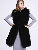 BF-Fur Style Women's Casual/Daily Sophisticated Fur CoatSolid Round Neck Sleeveless Winter Black Wool