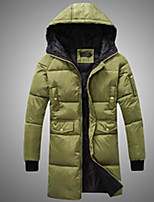 Men's Down Coat,Simple Plus Size / Casual/Daily Solid-Polyester Without Filling Material Long Sleeve Black / Gray / Green