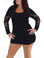 Women's Plus Size / Casual/Daily Simple Bodycon Dress,Solid Round Neck Mini Long Sleeve Black Polyester All Seasons Mid Rise Micro-elastic
