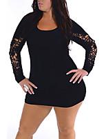 Moulante Robe Femme Décontracté / Quotidien / Grandes Tailles simple,Couleur Pleine Col Arrondi Mini Manches Longues Noir PolyesterToutes