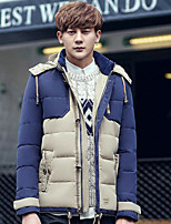 Men's Short Down Coat,Simple Casual/Daily Solid-Polyester White Duck Down Long Sleeve Hooded Blue / Beige / Green