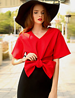 MASKED QUEEN  Women's Going out Simple Summer BlouseSolid V Neck  Length Sleeve Red / Black / Green Nylon Opaque