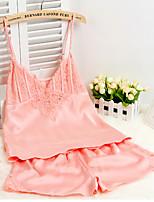 Damen Besonders sexy Nachtwäsche,Sexy einfarbig-Seide Mittelmäßig Rosa / Lila / Grün / Schwarz Damen
