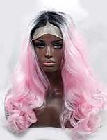 2016 Hot Sale Two Color Heat Resistant Synthetic Wigs Curl Black To Pink Ombre Synthetic Lace Front Wigs for Women