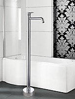 Modern Tub And Shower Widespread / Floor Standing with  Ceramic Valve Single Handle One Hole for  Chrome