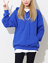 Women's Casual/Daily Simple / Cute Regular Hoodies,Letter Blue / Pink / White Hooded Long Sleeve Polyester Spring / Fall Medium
