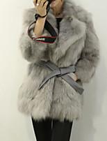 Женский На каждый день Однотонный Пальто с мехом Рубашечный воротник,Простое Зима Белый / Серый Рукав ¾,Лисий Мех,Толстая