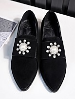 Women's Loafers & Slip-Ons Spring Fall Winter Comfort Suede Casual Low Heel Crystal Pearl Black Red Others
