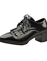 Women's Oxfords Spring / Fall Comfort PU Casual Chunky Heel Others / Lace-up Black / Burgundy Others