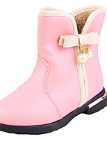 Girl's Boots Fall Winter Comfort Snow Boots PU Dress Casual Flat Heel Others Black Pink Red Walking